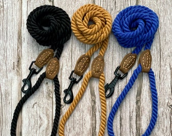 Dog Rope Lead in Black Blue or Tan   Dog Rope Leash   5ft lead   150cm lead   rope lead   dog lead   dog leash