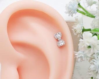 316L Surgical Steel Gemmed Bow Tie Ribbon Dangle Cartilage//Tragus Ear Barbell