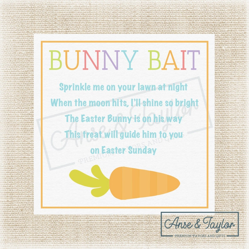 image regarding Bunny Bait Printable titled Bunny Bait Easter Printable Tags, Easter Bunny Foodstuff Printable Tag, Cl Favors, Instructor Like