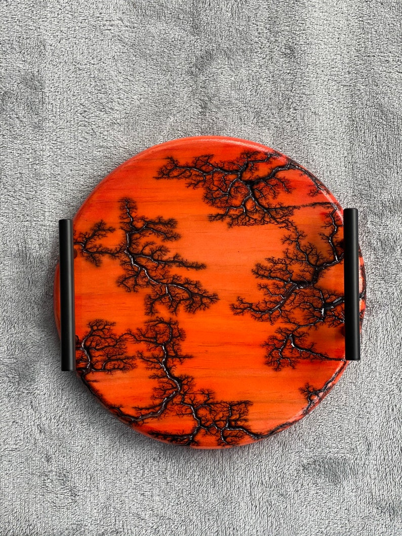 Red round fractal burned serving tray with handles