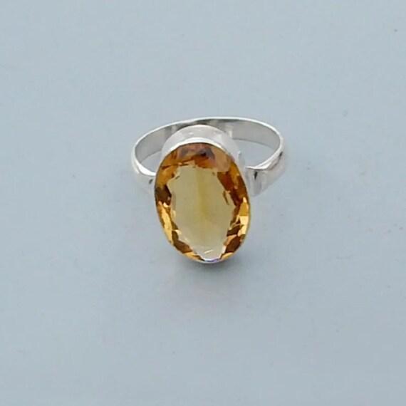 Royal Ring Sterling Silver Ring Citrine Ring 925 Sterling Etsy