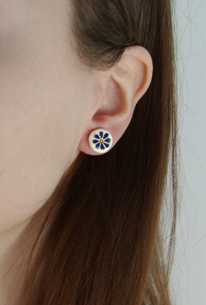 unique small minimalist earrings cute blue post earrings Simple blue flower stud earrings boho nature inspired jewelry gift for her