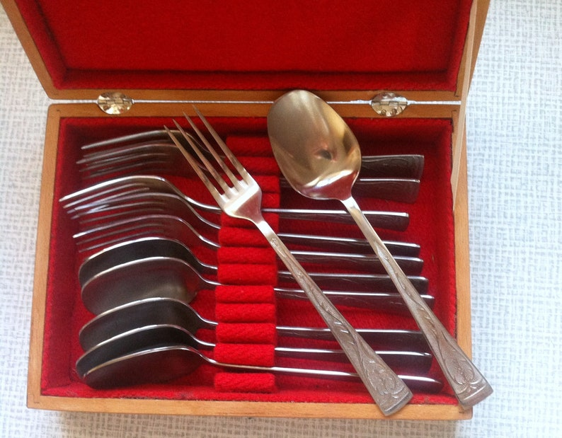 Flatware Set for 6 persons Vintage Set of 12 Stanless Spoons /& Forks Soviet symbolic USSR Wood box with inlaid Stainless Steel flatware