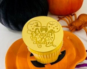 Halloween Cupcake Charm Set - I smell children, Spooky,  Acrylic cupcake discs , Halloween Toppers, Baking Supply, Cake Decor