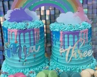 Name Plate Acrylic Cake Charm / Any One Word / Personalized / Custom / Birthday Wedding Baby Shower/ Cake Charm