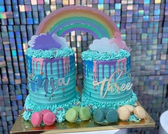Custom cake topper/ acrylic cake topper/ rainbow cake topper/ unicorn cake topper/ mirror cake topper