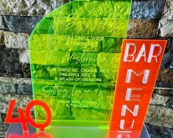 Arched Acrylic Drink Sign - Triple Panel Acrylic Menu - Wedding Sign - Mirrored Acrylic - Bar Sign - Signature Drink Sign -Acrylic Menu