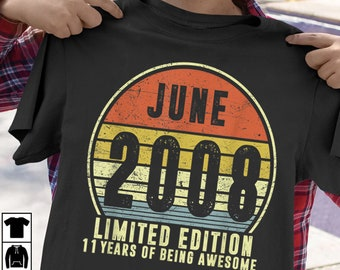 276962a4 Born June 2008 Limited Edition T Shirt 2008th Birthday Gifts
