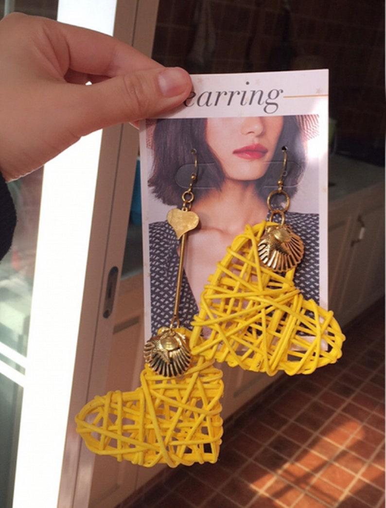 Heart irregular Earrings Hoops Drop Dangle,Yellow