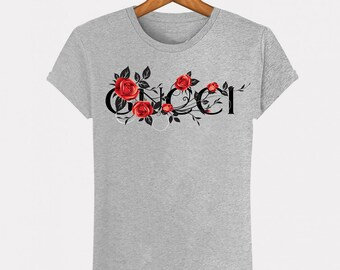 b38816110 Grey T-Shirt Heather Gucci Roses flowers fashion man woman Italy Milan fashion  Paris Fashion Top S M L XL XXL Designer Logo