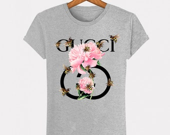 35008b6e7 Grey T-Shirt Heather Gucci flowers Flowers bee fashion man woman Italy  Milan fashion Paris Fashion Top S M L XL XXL Designer Logo