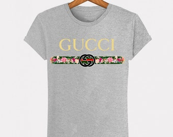 072c3bae1 Grey T-Shirt Heather Gucci Belt Belt Vintage flower Vintage fashion man  woman Italy Milan fashion Paris Fashion Top S M L XL XXL Designer Logo