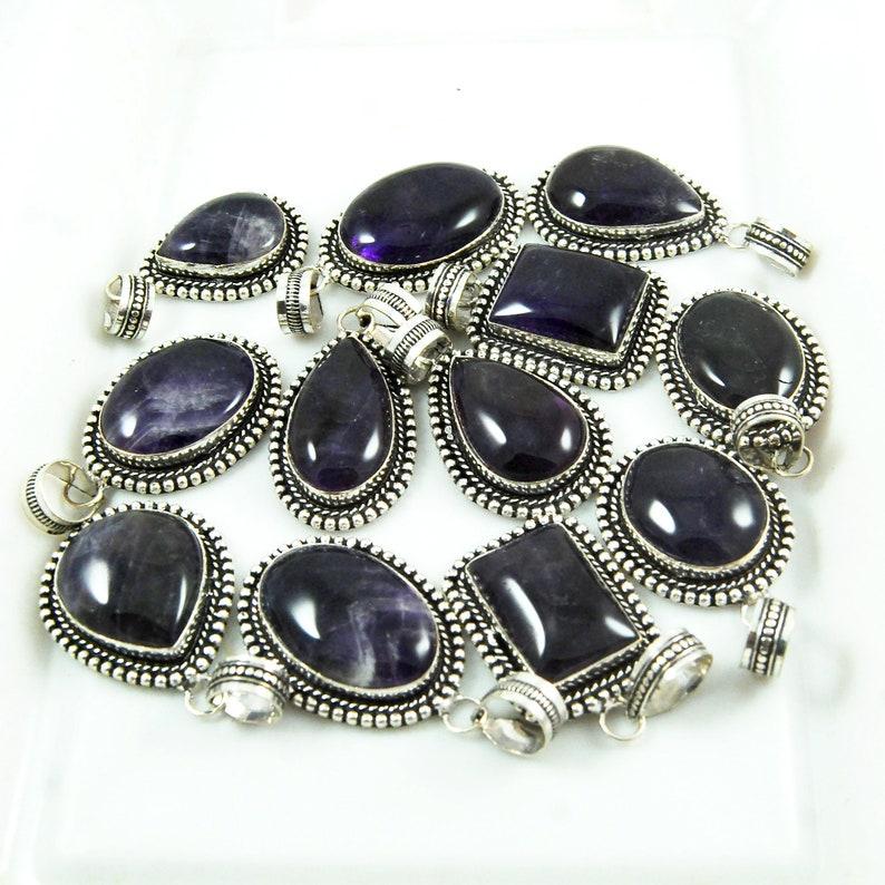 Mix Shapes /& Size Pendants Jewelry Purple Amethyst Pendants Silver Plated Brass Pendants Natural Amethyst Pendants Wholesale Lot !