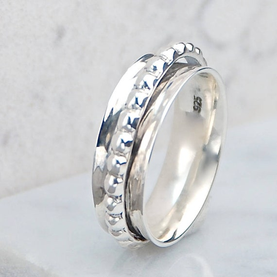 Spinner ring-Spinning ring-Silver spinner ring-Meditation ring-Worry ring-Fidget ring-Gift for her-Band ring-Wide band ring-Sterling silver