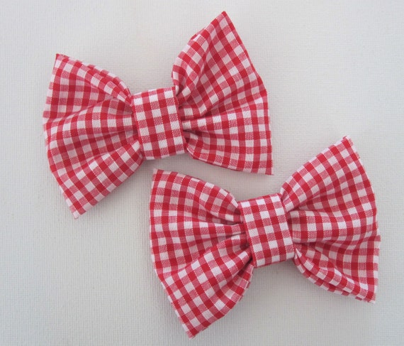 Pair Shoe Bow Clips Ladybird Cotton Ladies Accessories Retro Summer Rockabilly