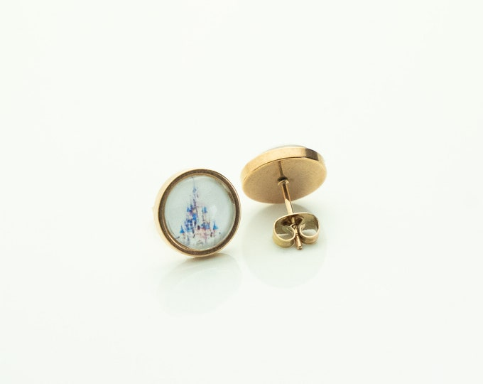 Earrings Stainless Steel Rose Gold Castle Vintage Earrings