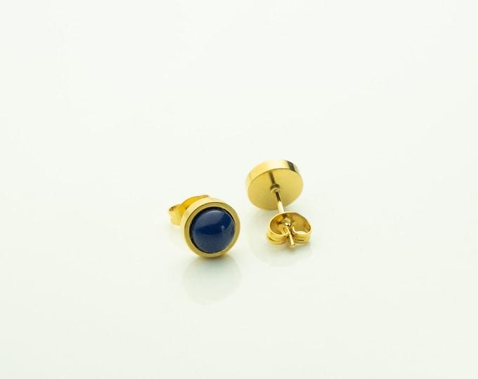 Earrings Stainless steel gold small blue Earrings