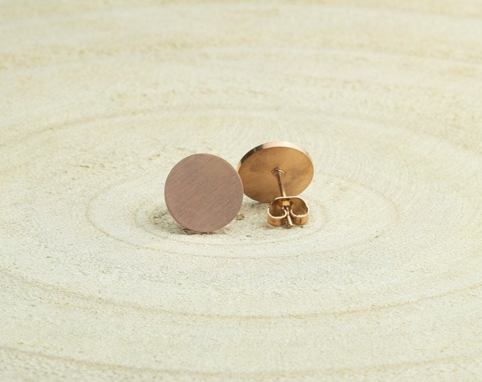 Studs stainless steel gold rose gold round