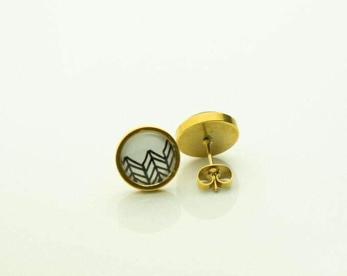Earrings Stainless Steel Gold Black White Pattern Boho Earring