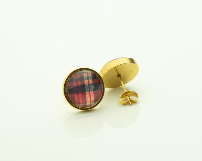 Earrings Stainless Steel Wood Gold Checkered Red Plaid Karo Earrings