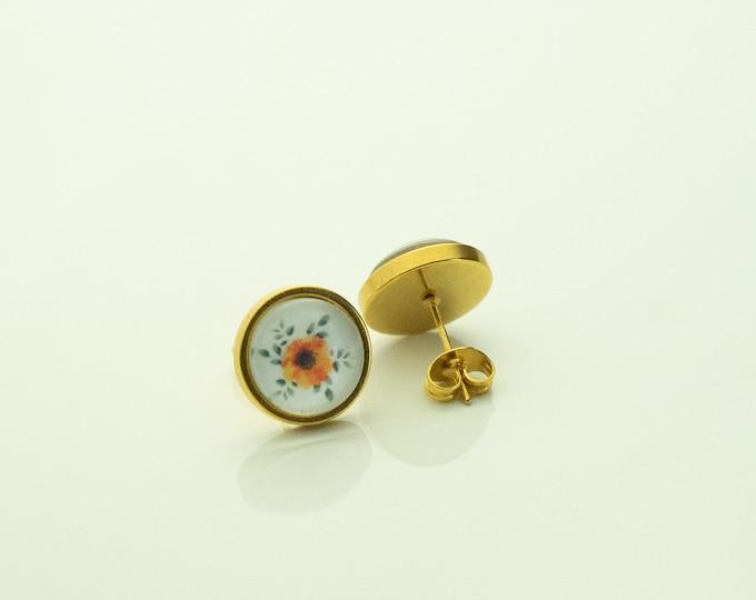 Earrings Stainless Steel Gold Autumn Flower VIntage Orange White Earrings