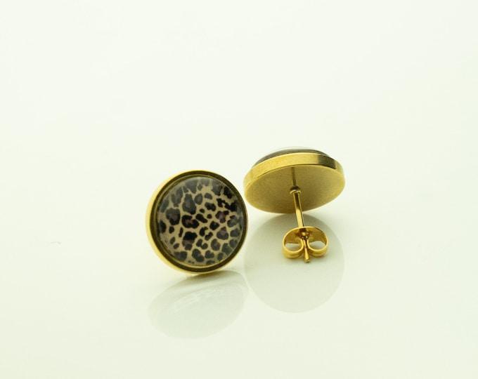 Earrings Stainless Steel Gold Leo Leopard Brown Earrings