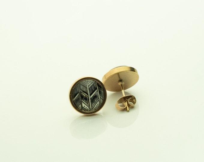 Earrings Stainless Steel Rose Gold Black White Pattern Boho Earring