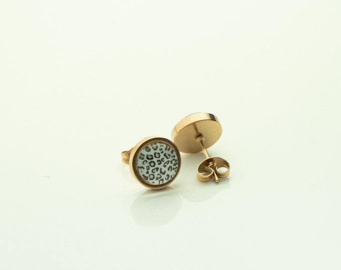 Earrings Stainless Steel Rose Gold Leopard Leo Black White Earring