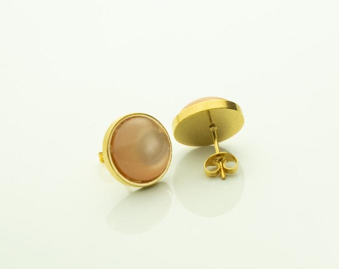 Ear studs stainless steel gold light peach earring