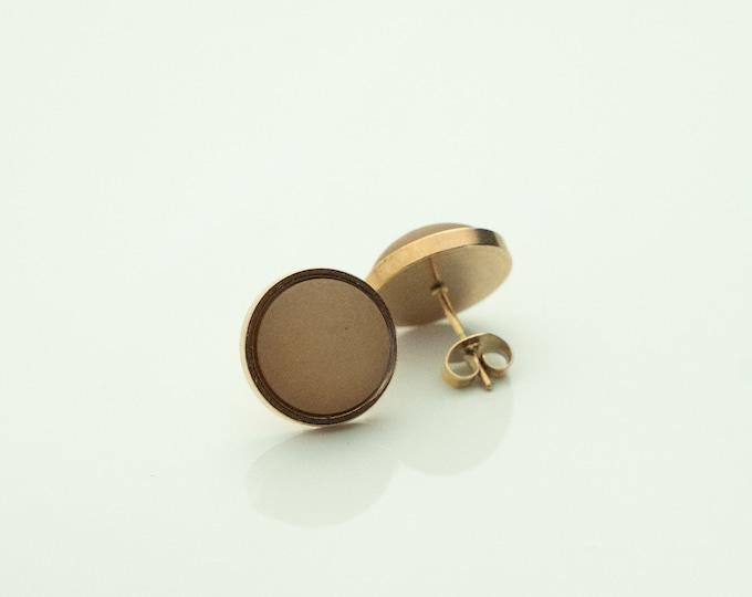 Earrings Stainless steel rose gold gold Variations light brown brown light brown Earrings