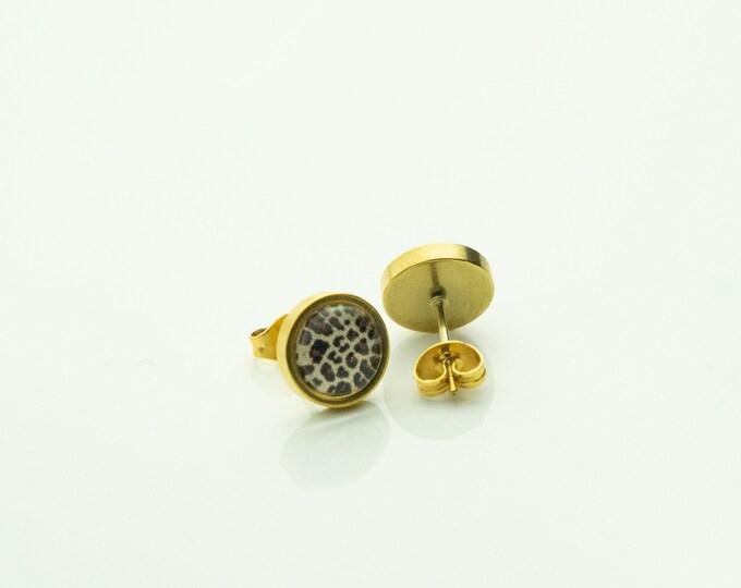 Earrings Stainless Steel Gold Leopard Leo Brown Beige Earring
