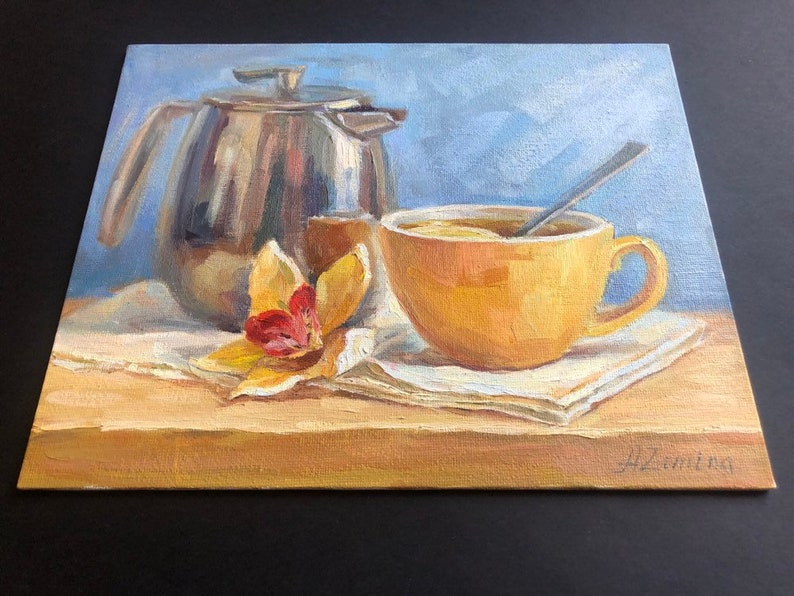 Small oil painting for kitchen Tea oil painting still life orchid painting