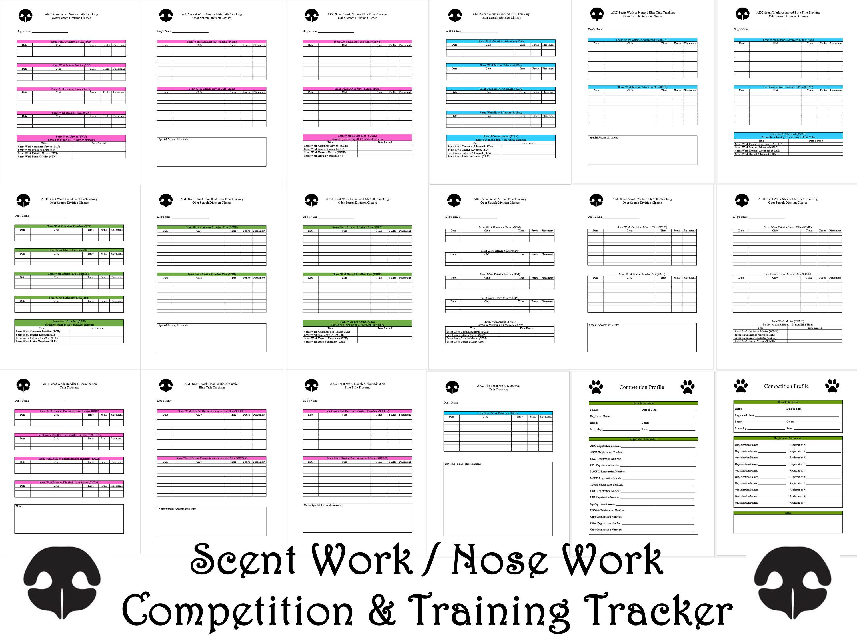 Blue AKC Scent Work Printable Competition Dog Training Forms Log Title  Tracking Nose Work PDF Instant Download **BONUS**