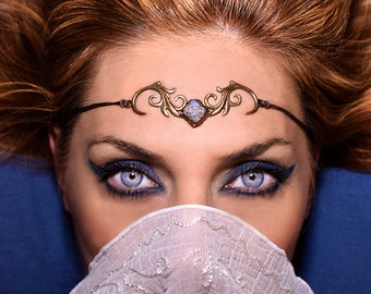 Unique Bridal Forehead Jewelry, Headpiece  Agate Drusy Gemstone set on Tribal Brass Chakra Crown, Hairdress Tiara, Elf Forest Nymph, Boho