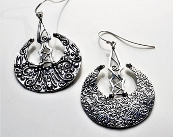 Double Sided Long Dangle Statement 925 Silver Handmade Earrings  with Flowers, Spirals and Granulations, Special Stunning Gift for Her