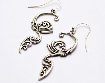Wind and Waves Long Dangle 925 Sterling Solid Silver, Statement Spiral Earrings, Present for Her, Birthday Gift, Greek Summer Memories