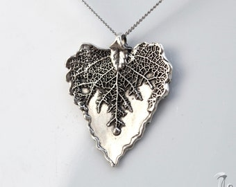 Elegant Heart  Natural Sterling Silver Minimal Leaf Pendant Nature Inspired, Organic Pendant as  Gift for Mother's Day, Ready to Ship