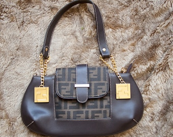 6565850567c RARE Authentic Fendi Zucca Baguette Hobo Shoulder Bag Hand bag brown  monogram golden chains