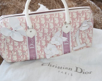 c46c9f5b98bb vintage Christian Dior pink white monogram handbag trotter bag