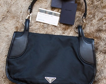 cfed0266b69 Authentic vintage Prada nylon hobo bag shoulder bag with authentication  card Prada logo bag prada saffiano