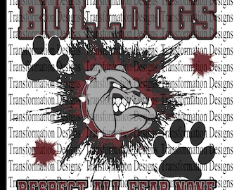 Sublimation Bulldog Respect all fear none Maroon and Gray