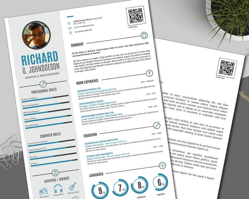Simple Infographic Man Resume Template / CV Template, Executive Resume /  Lebenslauf + Cover Letter, Easy to Edit in MS Word + Adobe InDesign