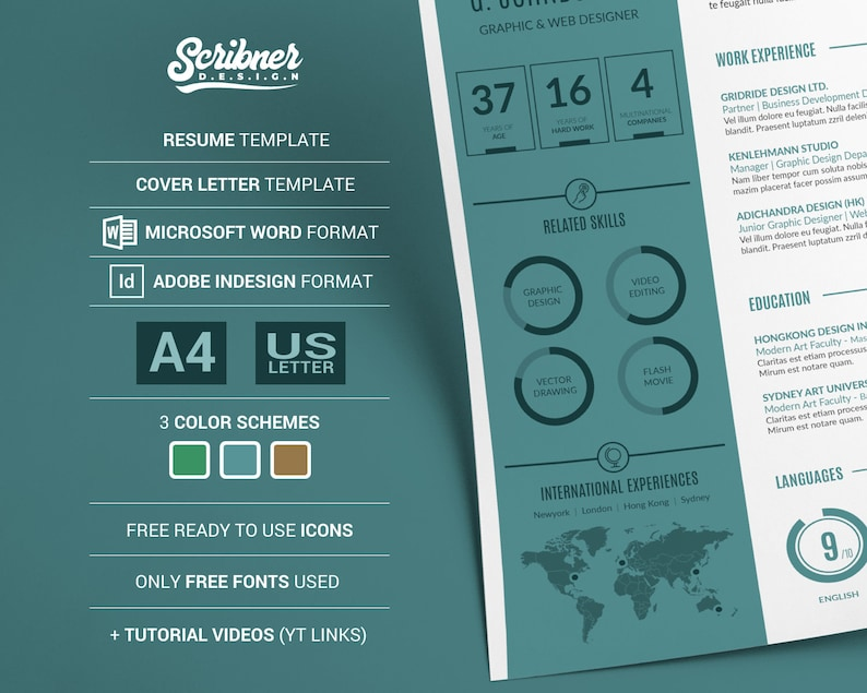 Creative Infographic CV Template / Resume template, free cover letter, in  Microsoft Words and InDesign | plus Tutorial Video, for PC and Mac