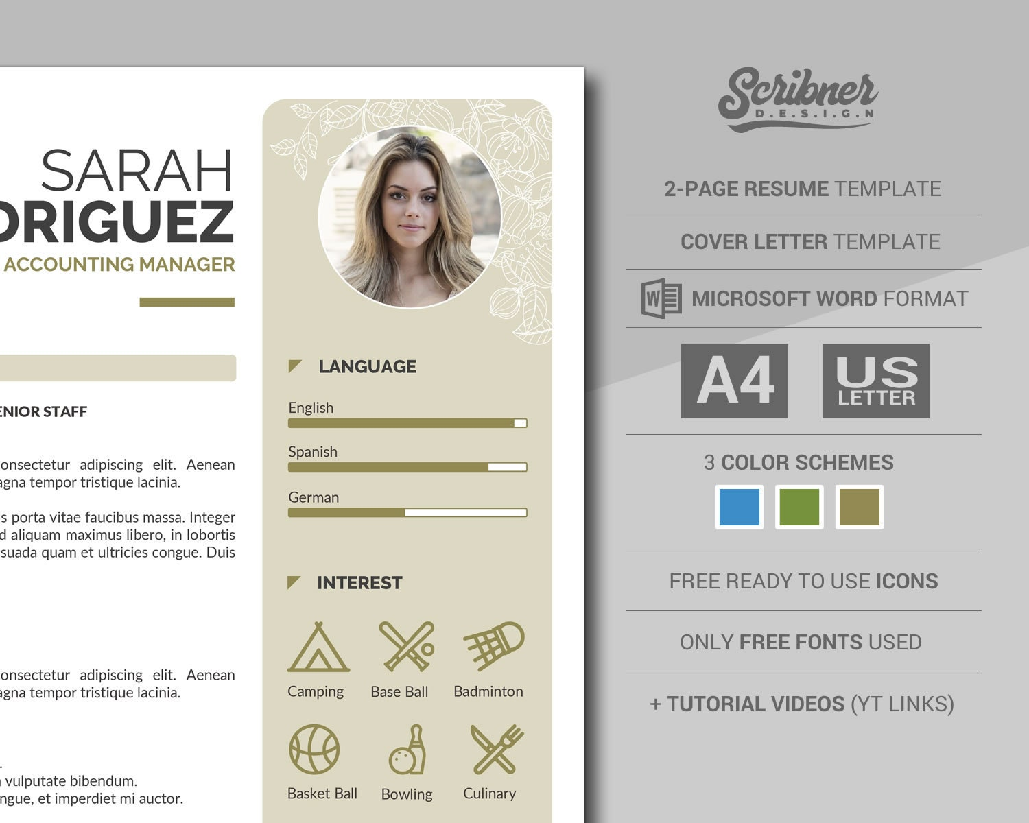 Creative Word Resume Template / CV Template with Cover Letter | 2-Page  Executive Resume with Photo, in 3 Color Themes, Instant Download