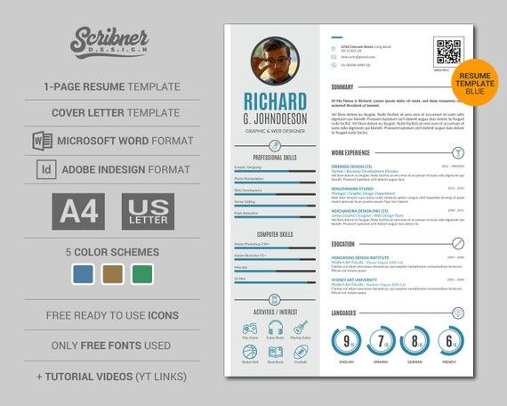 Simple infographic Resume template / CV Template, plus free cover letter |  3 Color Schemes, Easy to Edit, in MS Word + Adobe InDesign format