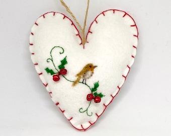 Robin Hanging Heart Needle Felt, Christmas Tree Decoration, Felt Hanging Heart, Tree Decoration, Stuffed, Ornament, Christmas gift, JAEBYJAE