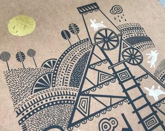 South Crofty, Cornwall art, Cornish tin mine, Handprinted, Original art, Screenprint, White rabbit illustration, Cornwall, Engine House