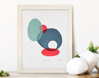 Abstract art, Cornwall art, boulder art, handprinted, multicoloured print, original art, circle art, wall art, print