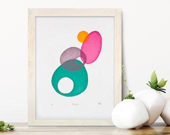 Abstract art, boulders, bright art, screenprint, Cornwall art, handprinted, multicoloured print, original art, circle art, wall art, print