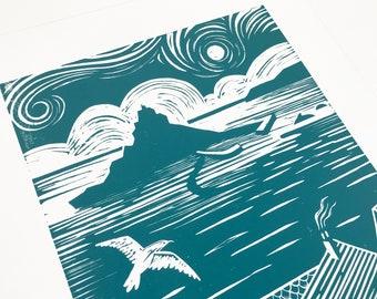 St Micheals Mount, Cornwall art, Coastal art, Marazion art, Penzance art, Maritime print, Ocean view print, Seaside art, Teal art, Seagull